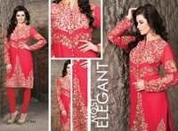 Shervani Style Georgette Embroidered  Red Kurti