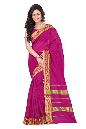 Cotton printed pink fancy saree