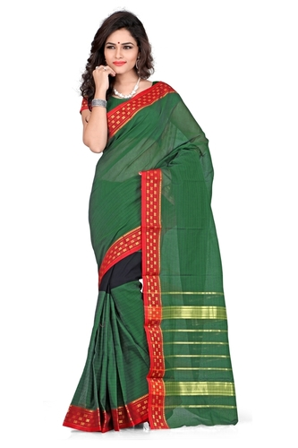 Cotton printed Green fancy saree