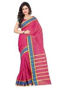 Cotton printed red fancy saree