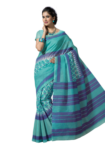 Cotton printed Sky blue fancy saree