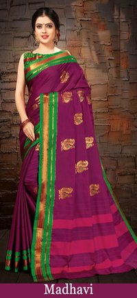 Cotton printed grey fancy saree