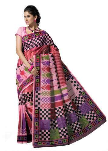 Cotton printed Mlticolor fancy saree