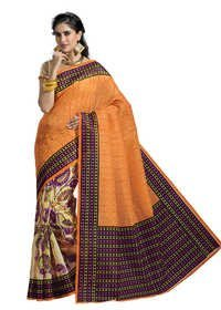 Cotton printed yellow exclusive saree