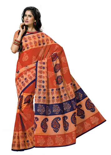 Cotton printed orange fancy saree