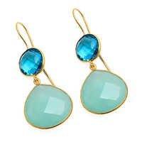 Aqua Chalcedony & Blue Topaz Quartz Gemstone Earring