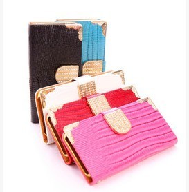 Luxury Diamond Magnetic Bling Shiny Crystal PU Leather Flip Wallet Case For Iphone6/6 plus