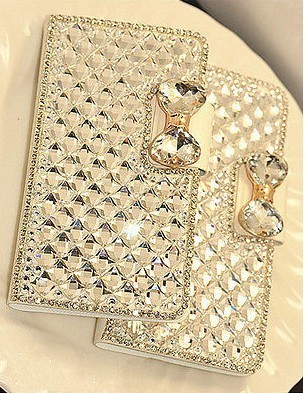 Luxury Leather Bling Crystal Diamond Bow Wallet Case Iphone 5S/
