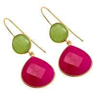 Fuchsia & Sea Green Chalcedony Gemstone Earring