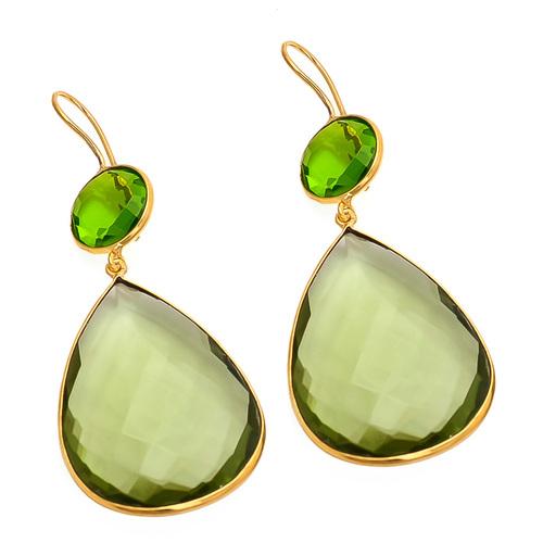 Green Amethyst & Peridot Gemstone Earring