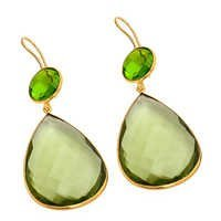 Green Amethyst & Peridot Gemstone Earring