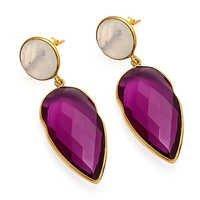 Pink Tourmaline & Rainbow Moonstone Gemstone Earring