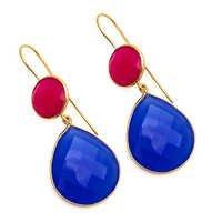 Blue & Fuchsia Chalcedony Gemstone Earring