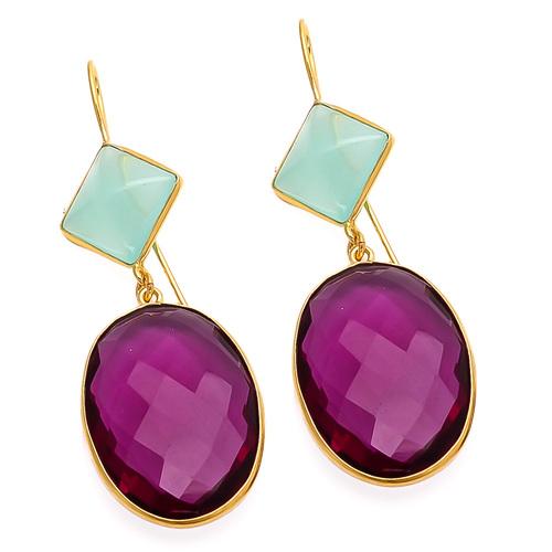 Pink Tourmaline & Aqua Chalcedony Gemstone Earring