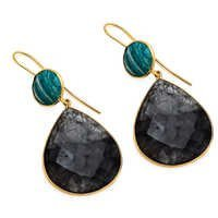 Black Rutile & Amzonite Gemstone Earring
