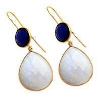 Rainbow Moonstone & Sapphire Gemstone Earring