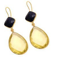 Lemon Topaz & Blue  Send Gemstone Earring