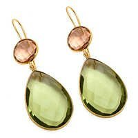Green Amethyst & Champagne Quartz Gemstone Earring