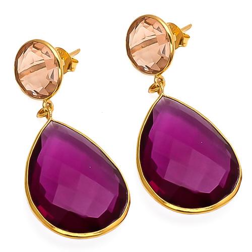 Pink Tourmaline & Champagne Quartz Gemstone Earring