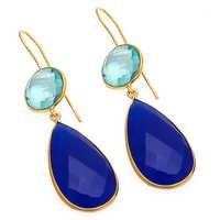Blue Chalcedony & Blue Topaz Gemstone Earring