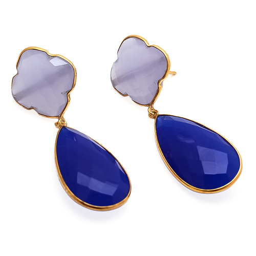 Blue & Lavender Chalcedony Gemstone Earring