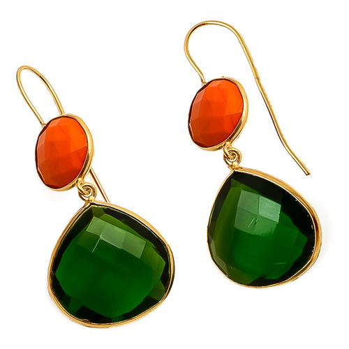 Emerald & Orange Chalcedony Gemstone Earring