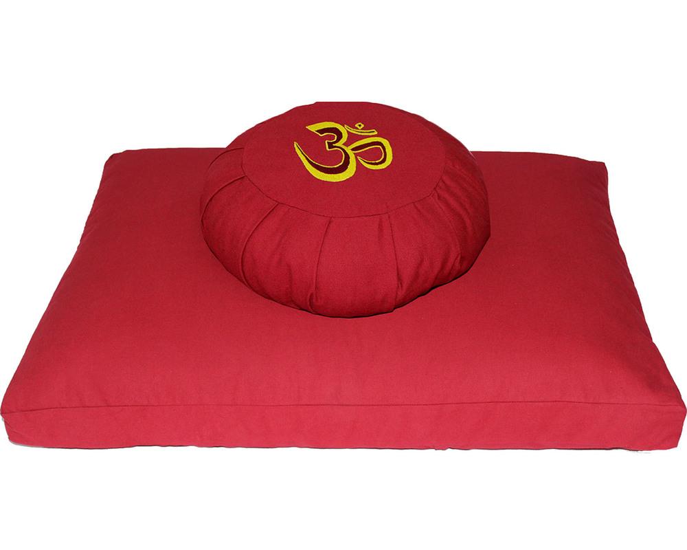 Meditation Cushion Set- Red OM