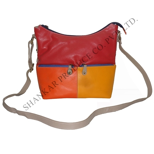 Leather Multi color chain pocket body bag