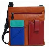 women leather Multi Pocket Sling Bag