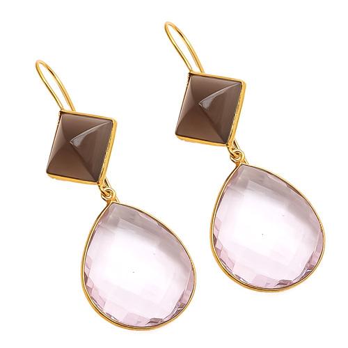 Pink Quartz & Gray Chalcedony Gemstone Earring