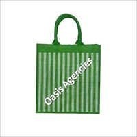 Stripe Print Jute Shopping Bag<