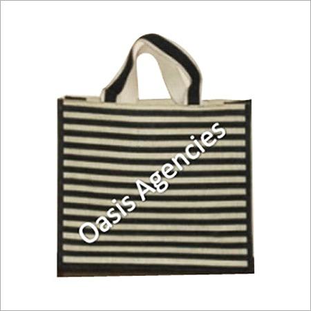 Stripe Print Jute Promotional Bag