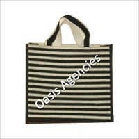 Stripe Print Jute Promotional Bag