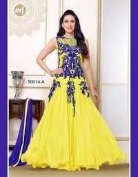 Fancy Yellow Net Chiffon Gown By Karishma Kapoor