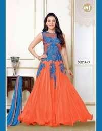 Fancy Orange Net Chiffon Gown By Karishma Kapoor
