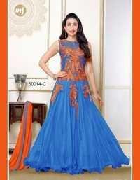 Fancy Blue Net Chiffon Gown By Karishma Kapoor