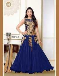 Fancy Navy Net Chiffon Gown By Karishma Kapoor