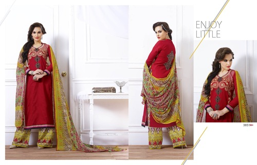 Buy Red Cotton Embroidery Designer Salwar suit