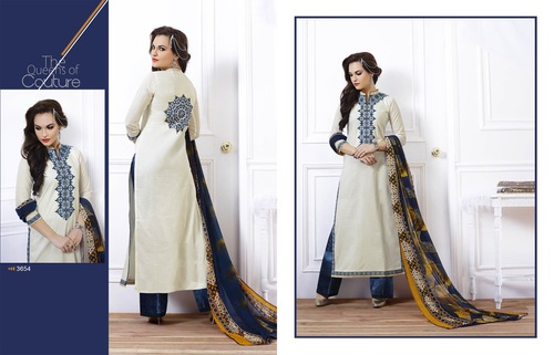 Enticing White cotton Embroidery Designer Salwar suit