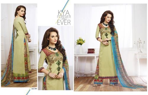 Modish  Beige cotton embroidery Designer Salwar suit