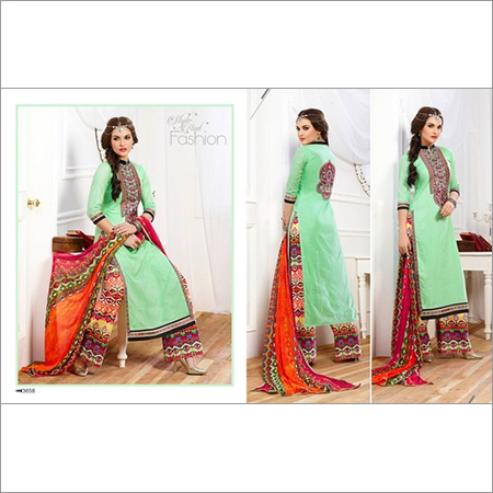 Buy Light Green Cotton Embroidery Designer Salwar suit
