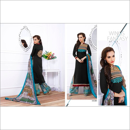 Exclusive Black Cotton Embroidery Designer Salwar suit