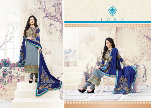 Elegant Multicolor Georgette Embroidery Designer Salwar suit