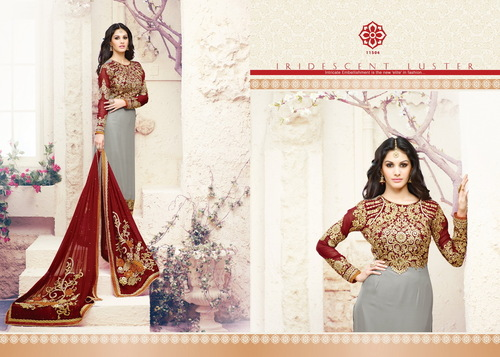 Exclusive Grey Georgette Embroidery Designer salwar suit