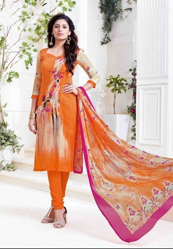 Orange Casual Wear Printed Suit