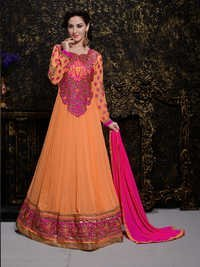Buy Orange Georgette Embroidery Designer salwar suit