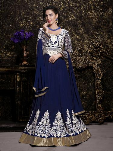Elegant Blue Georgette Embroidery Designer Salwar suit