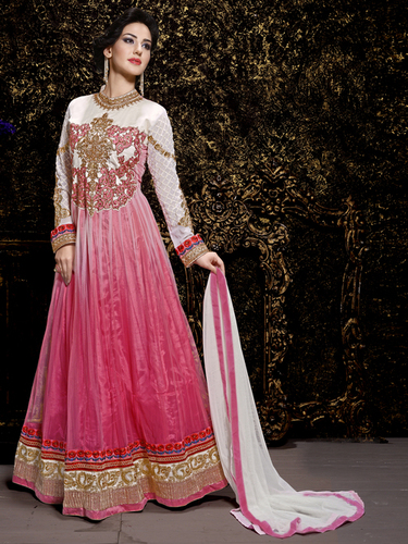Enticing Multicolor Net Embroidery Designer salwar suit