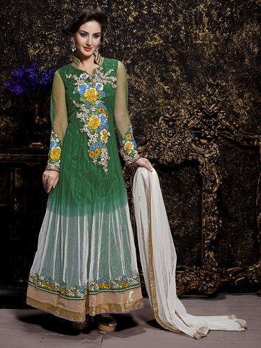 Buy Green Net Embroidery Designer salwar suit