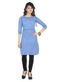 Flat Pinted Blue Cotton Kurti